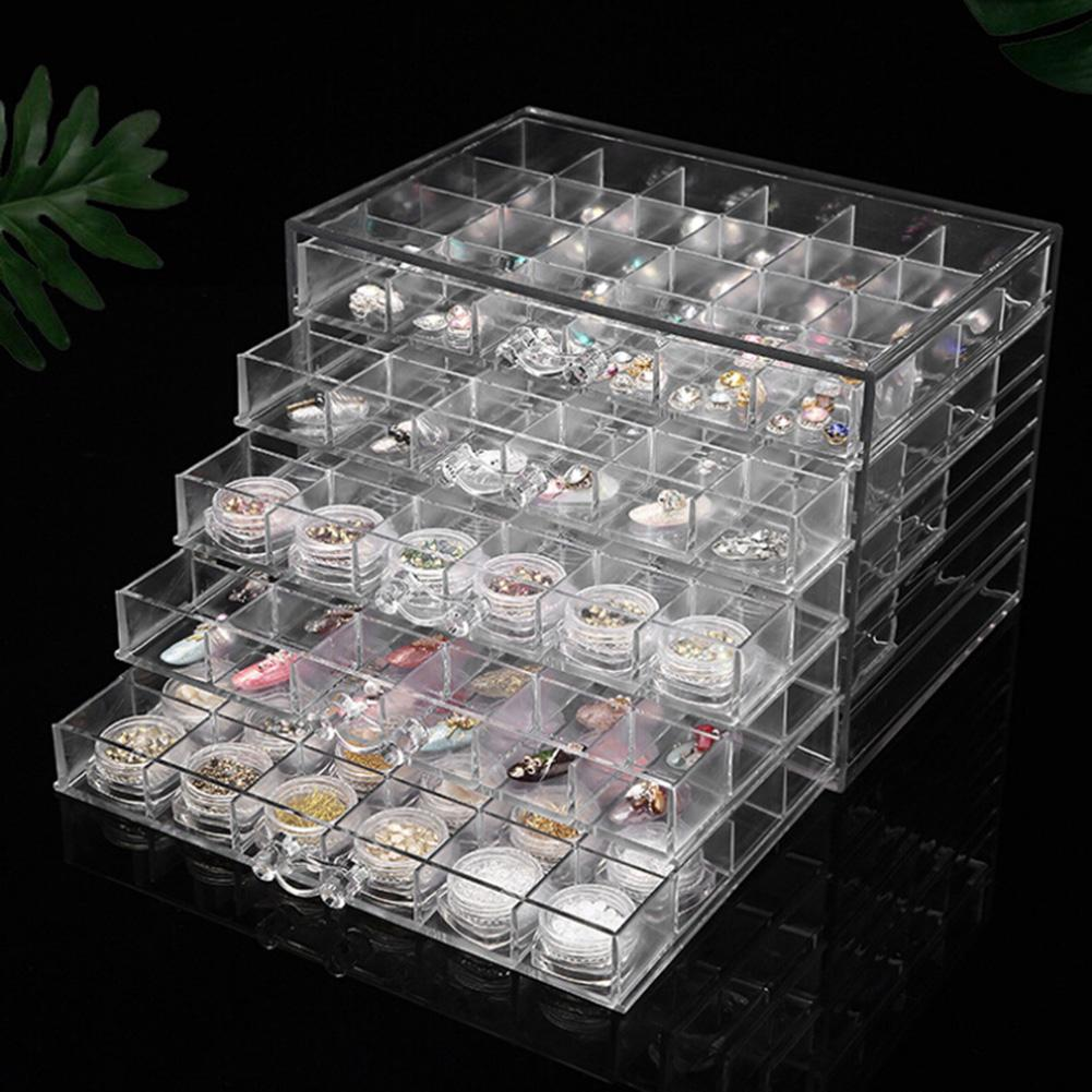 120 Grids Transparent Acrylic Nail Display Organizer Makeup Jewelry Drawer Box  Transparent Finish The Model Is Elegant Practica