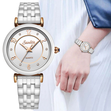 SUNKTA New All White Ceramic Quartz Women Watches Waterproof Fashion Simple Style Top Brand Luxury Zegarek Damski