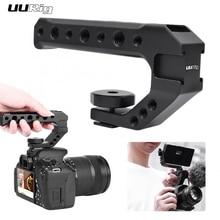 UURIG R005 אוניברסלי יד אחיזת מצלמה ידית עם קר נעל הר 1/4 ו 3/8 חורים עבור צג מיקרופון למלא אור