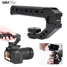UURIG empuñadura de mano Universal para cámara con montaje en Zapata fría, orificios de 1/4 y 3/8 para Monitor, luz de relleno de micrófono