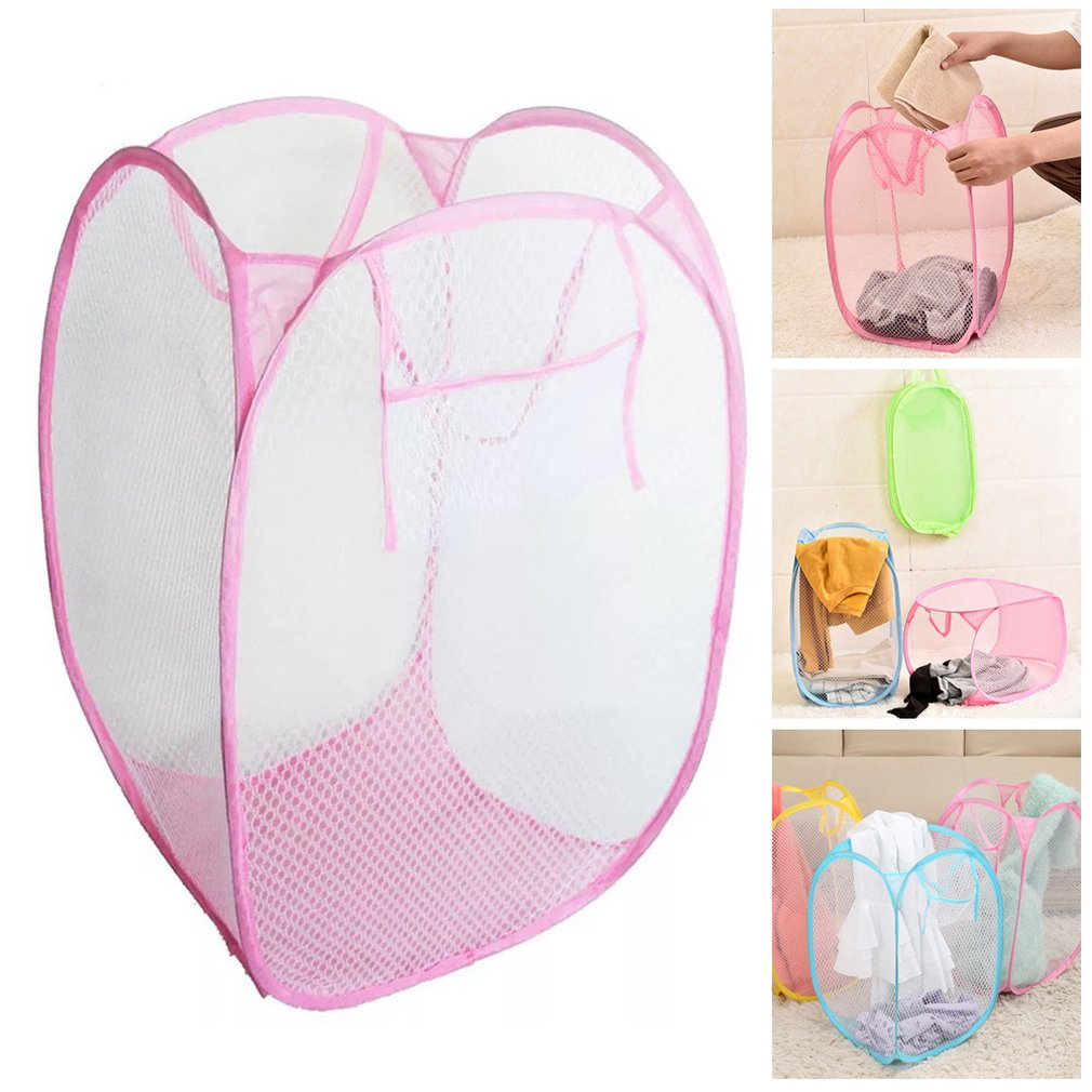 Laundry Foldable Square Basket Pop Up Hamper Clothes Storage Mesh Hamper Washing Clothes Laundry Basket Bag Kid Toy Organizer