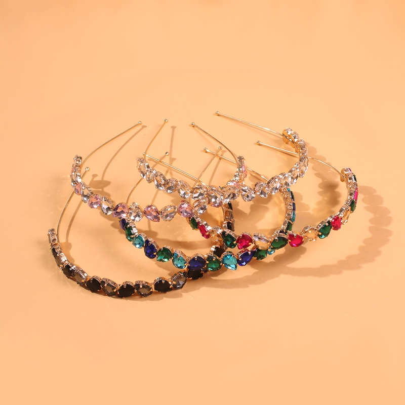 Luxury Geometric Crystal Hairband Sparkly Rhinestone Baroque Silver Color Headband For Girls Hair Accessories Lalynnly F18461