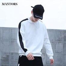 Moletom masculino hip hop marca moda retalhos o-pescoço longo sleevestop blusa com capuz masculino preto branco solto casual camisolas