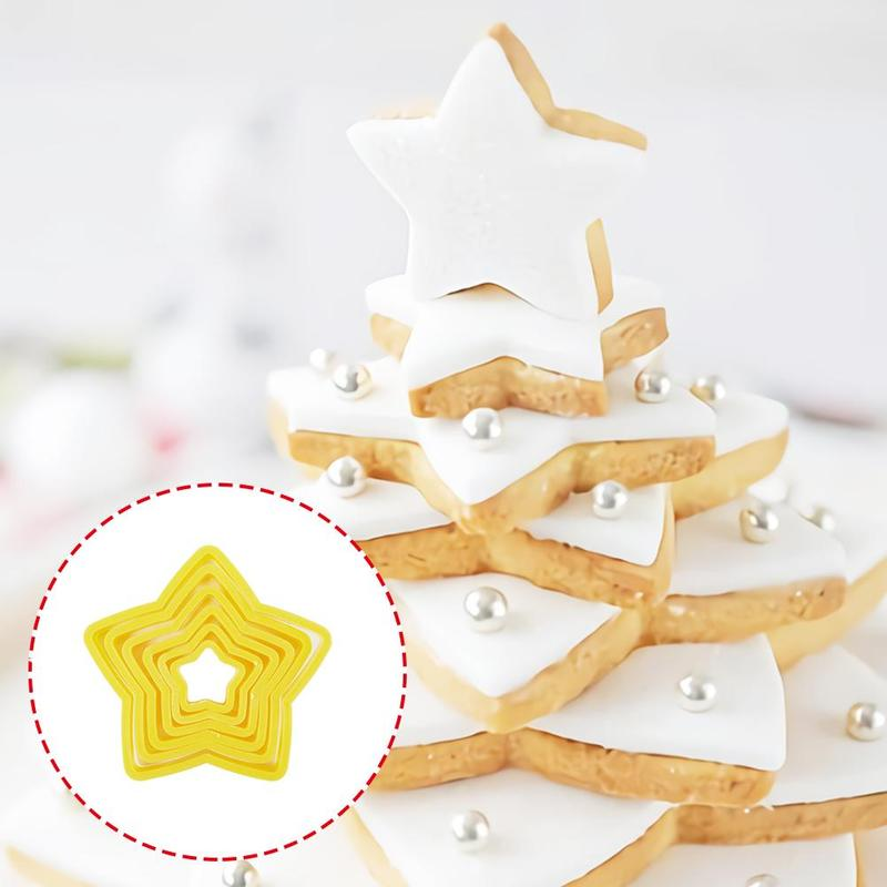 6pcs/set Five-pointed Star Cookie Mold 3D Christmas Biscuit Tree Fondant Cake Kitchen Bakery Baking Tools