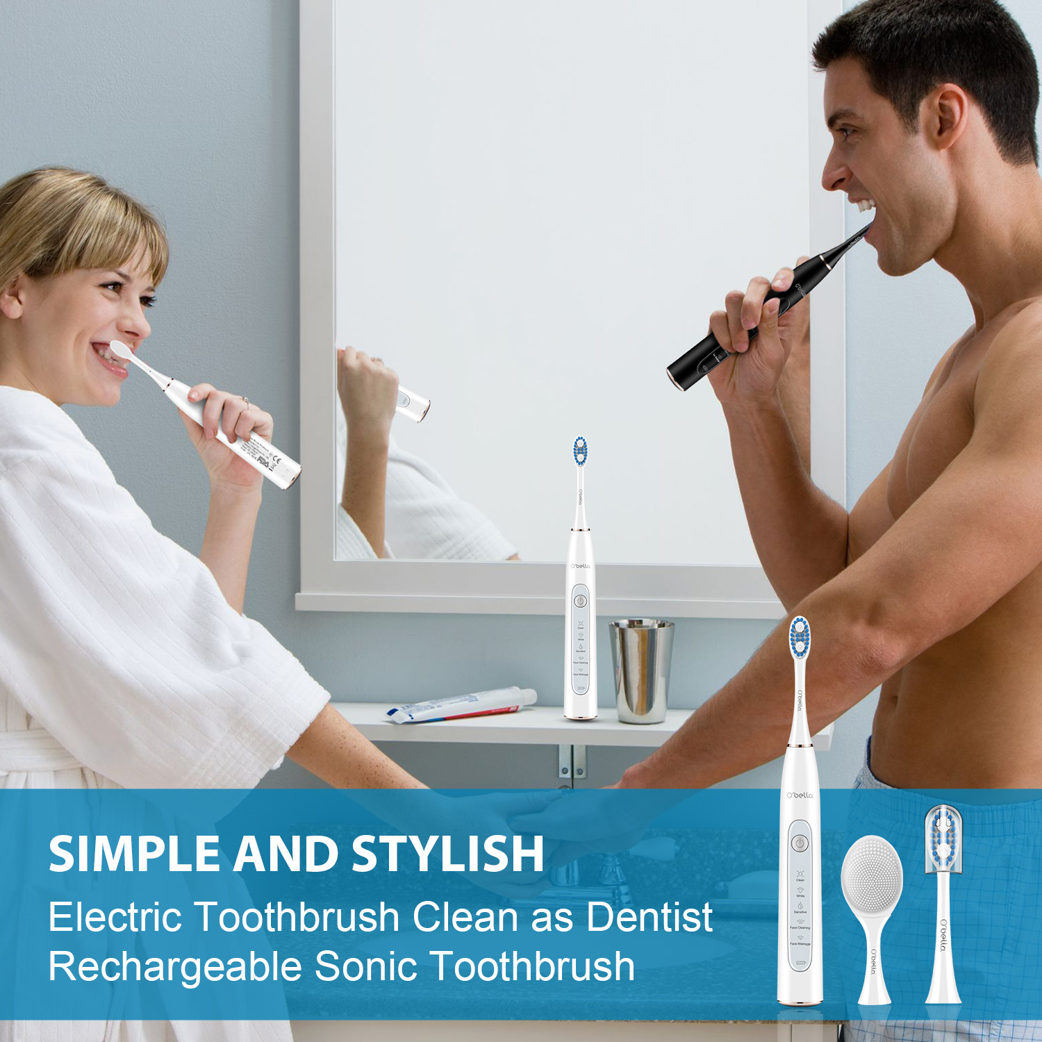 O'bella T10 Electric Toothbrush USB Rechargeable Sonic Electrric Toothbrush Upgraded Ultrasonic Toothbrush Face brush