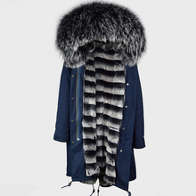 Chinese Wholesales Fur Coat Men Navy Shell Fur Long Jacket With Stripe Soft Faux Fur Liner