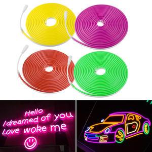 Image 2 - LED Streifen Flexible Neon Licht 12V Wasserdicht Luces Led Band Seil Dimmen Flex Rohr Band Zimmer Warm Weiß Gelb rot Grün Blau