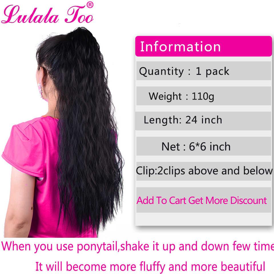24 calowy długi ze ściągaczem kucyk peruka dla kobiet syntetyczny kukurydzy fala klip w Hairpiece Wrap wokół koński ogon do przedłużania włosów