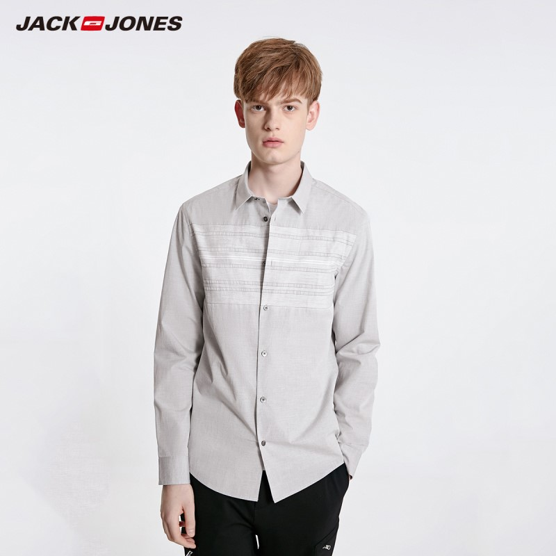 JackJones Men's Spring Slim Fit 100% Cotton Striped Spliced Long-sleeved Shirt Menswear|Style 219105511