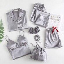 Frühling Herbst 7 Stück Set Frauen silk Pyjamas Langarm solide sexy pyjama set lange Hosen Voll Lounge Nachtwäsche weihnachten pj