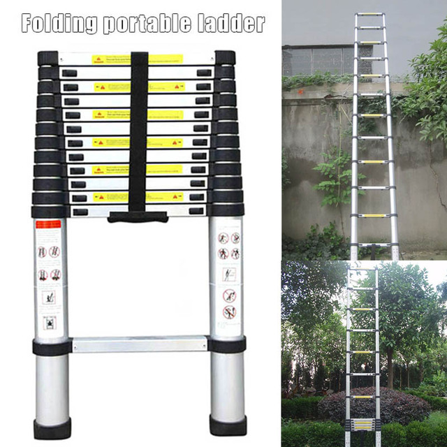 12.5ft 3.8m Telescopic Extension Step Ladder Aluminum Alloy Folding Multi Purpose 381x49x9.5 cm WWO