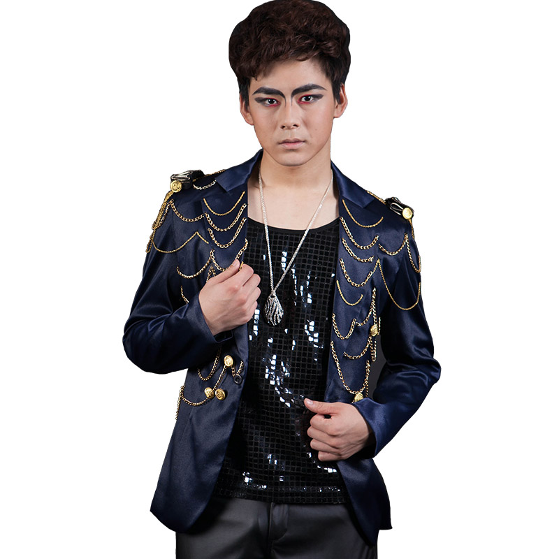Male singer personality tassel stage dress new fashion slim small suit European and American costume jacket