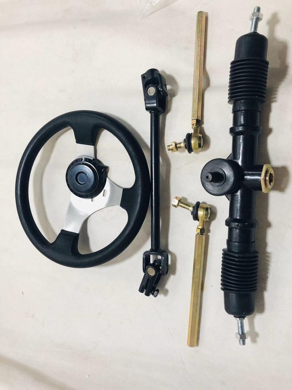 diy go kart karting atv utv buggy steering gear rack pinion u joint tie rod with steering wheel