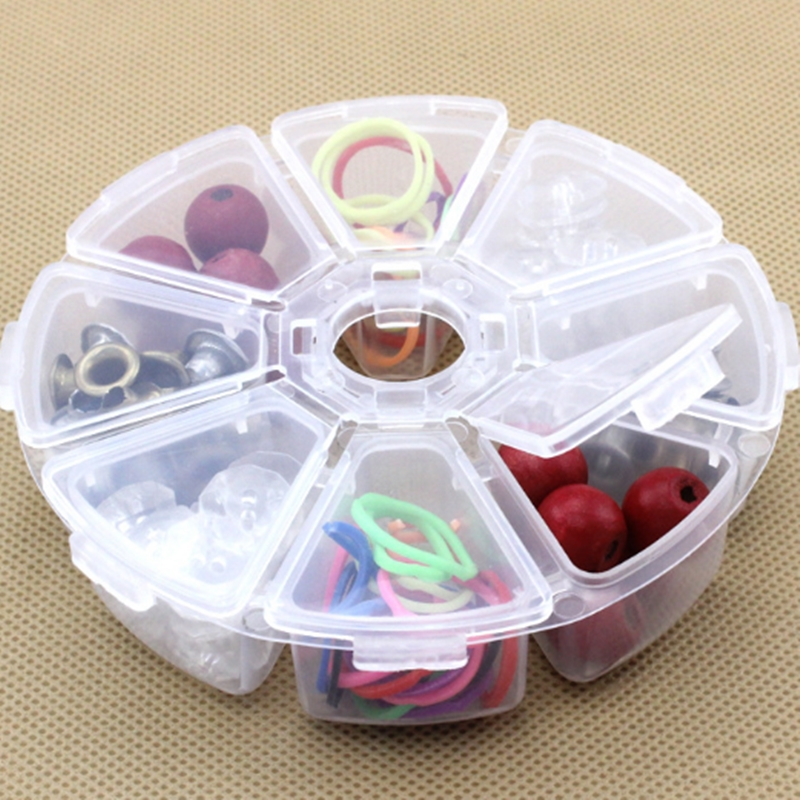 New Round 8 Compartment Storage Box Transparent PP Plastic Box Bead Pills Objects Organizer Small Component Jewelry Tool Boxs