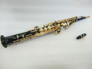 Nowy wysokiej jakości saksofon sopranowy prosty saksofon sopranowy Model czarny saksofon ustnik i etui tanie i dobre opinie Spada dostroić b (c) Bakelitu Mosiądz Złoty lakier