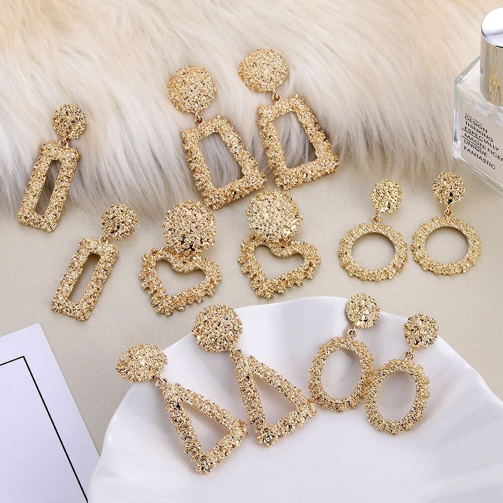Fashion Statement Clip On Earrings 2019 Big Geometric Earrings For Women Non Pierced Earing Modern Jewelry