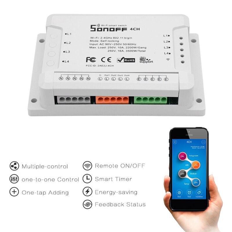 Sonoff 4CH R2 ITEAD 4 Channel Din Rail Mounting WiFI Switch Wireless Smart