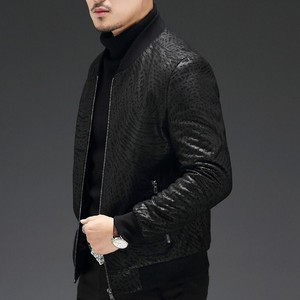 Image 5 - High Quality Sheepskin Slim Fit Mens Autumn Jackets Long Sleeve Zip Genuine Leather Casual Black Male Outerwear Coats Plus Size