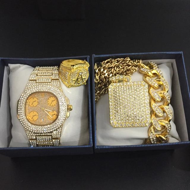 Conjunto de reloj de lujo para hombre, pulsera y collar, anillo, Color dorado, Hip Hop, cristal, hielo, collar de cadena cubana 1