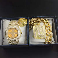 Luxury Men Gold watch hip hop gold Cuban Chain Necklace Men Watch & Necklace & Bracelet & ring Combo Set Hip Hop Jewelry For Men
