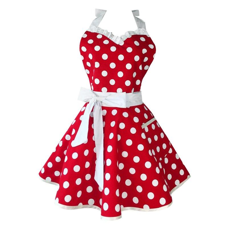 Ev ve Bahçe'ten Önlükler'de Güzel sevgiliye kırmızı Retro mutfak önlükleri kadın kız pamuk Polka Dot pişirme Salon eski önlük elbise noel title=
