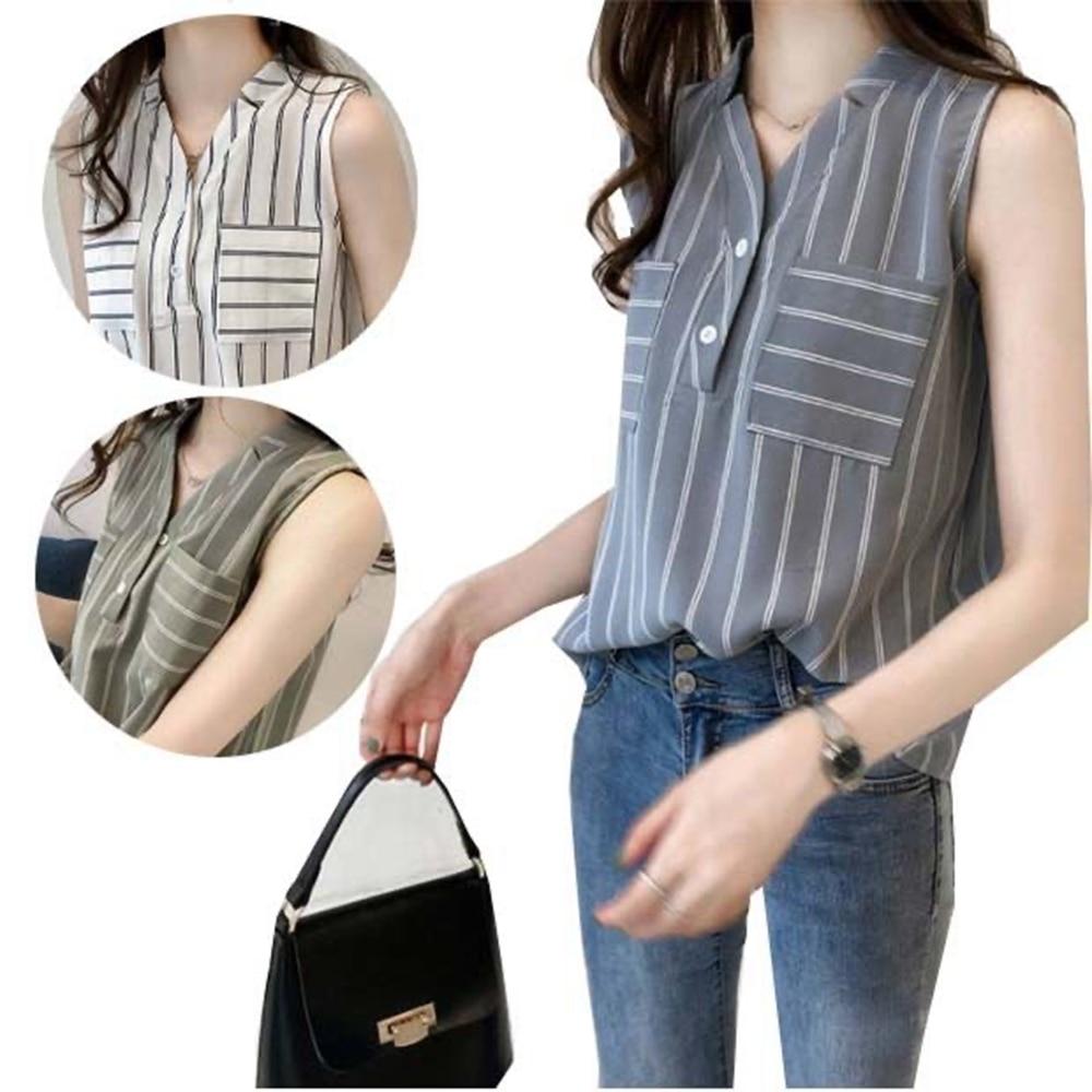 Women Blouses 2020 Fashion Sleeveless V neck Office Shirt Blouse stripe with pocket Casual Tops Plus Size loose Blusas Femininas