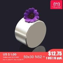 マグネット1ピース/ロットN52 50 × 30ミリメートルホットラウンド強力磁石希土類N35 N40 D40 60mmネオジムマグネット強力な永久磁石
