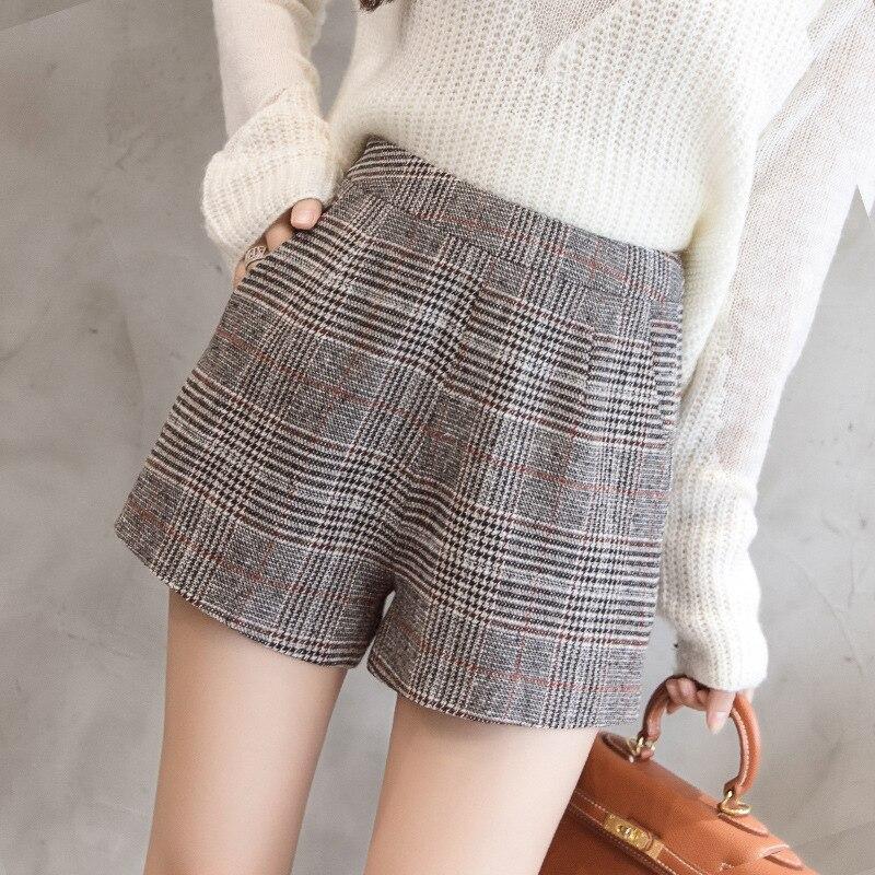 S-2xl Autumn Wool Korean Shorts Female 2019 Spring Slim Patchwork High Waisted Shorts For Women Winter Warm Booty Shorts Women