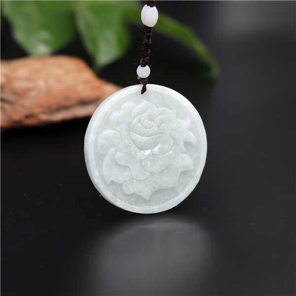 แกะสลักธรรมชาติสีขาวมรกตหยกดอกไม้จี้สร้อยคอสร้อยคอสร้อยคอสร้อยคอสร้อยคอสร้อยคอสร้อยคอสร้อยคอสร้อยคอสร้อยข้อมือหยกเครื่องประดับแฟชั่นจีน Amulet ของขวัญผู้หญิงผู้ชาย