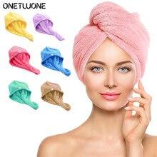 Toalha de cabelo torção toalhas de secagem torção microfibra engrossar boné com botão para mulher super absorvente de secagem rápida tampão de cuidados com o cabelo
