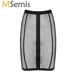 MSemis Sexy Mulheres Oco Out Fishnet Alta Cintura com Elástico Na Cintura Frente Zip Up Pencil Skirt Verão Natação Cover Up saia
