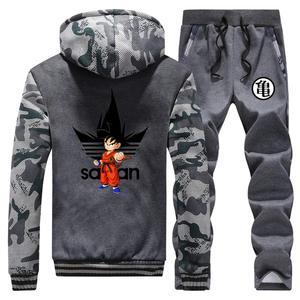 Image 2 - Anime Dragon Ball Z Dikke Hoodie Sweatshirt Dragonball Z Goku Camouflage Truien Jas + Broek 2 Stuk Sets Mannen Streetwear jas