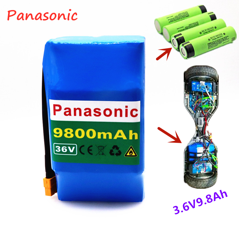 Panasonic 10S2P 36v lithium-ion rechargeable <font><b>battery</b></font> <font><b>9800</b></font> mAh 9.8AH <font><b>battery</b></font> pack for electric self-suction hoverboard unicycle image