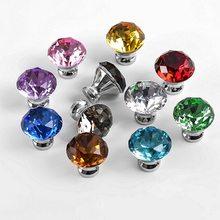 5/10/16 pc/lotes 30mm forma de diamante design de cristal puxadores de vidro gaveta do armário puxar armário da cozinha porta do guarda-roupa alças ferragem