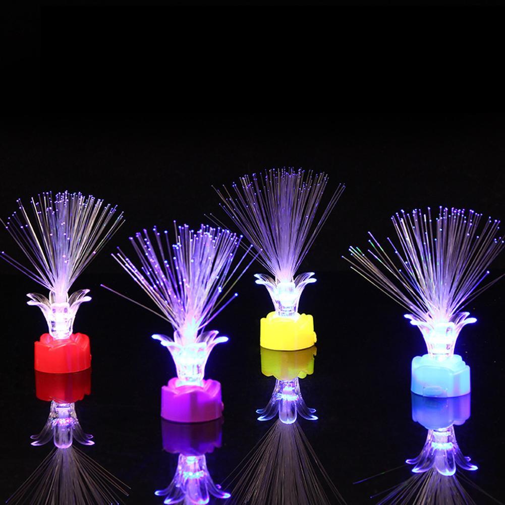 4Pcs LED Rose Shape Flashing Fiber Optic Night Light Kids Toys Christmas Party Supplies Beautiful Glowing Toys
