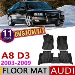 Niestandardowy samochód skórzane maty podłogowe dla Audi A8 D3 4E 2003 ~ 2009 4 siedzenia Auto stóp pad dywanik akcesoria 2004 2005 2006 2007 2008