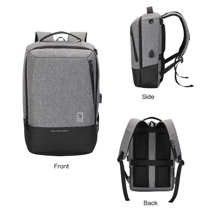 Oiwas çok fonksiyonlu 15 'dizüstü erkek sırt çantası su geçirmez çanta USB şarj seyahat etmek için gençler Schoolbag sırt çantası Mochila