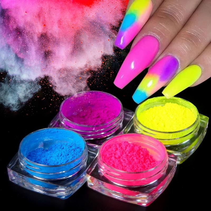 9 Boxes/set Neon Pigment Powder Nail Fluorescence Gradient Glitter Summer Shinny Dust Ombre DIY Nail Art Decoration Manicure