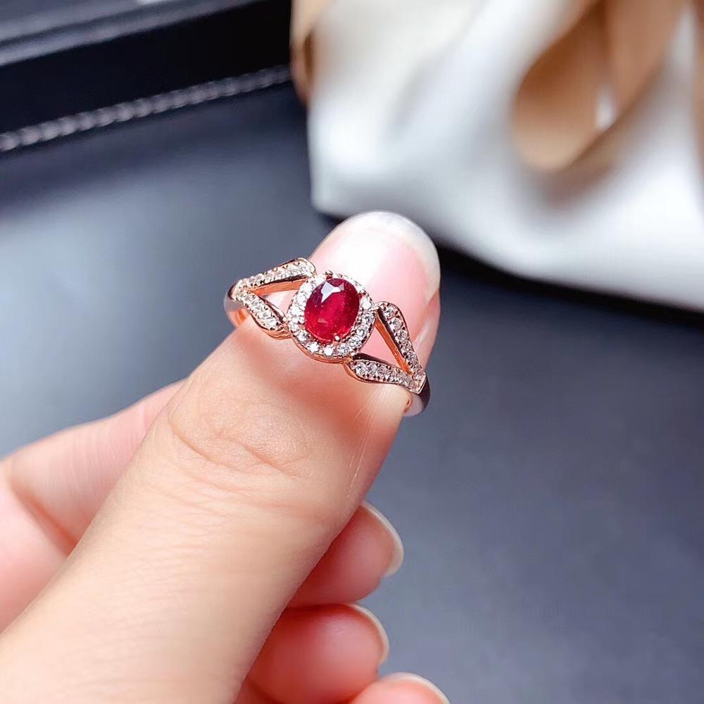 Naturel et réel rouge rubis anneau 925 en argent Sterling anneaux pour anneaux de mariage argent 925 pierres précieuses bijoux bijoux fins