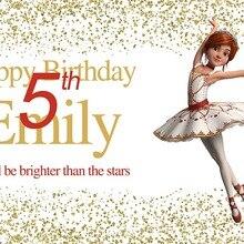 Backdrops Vinyl Photo-Studio Sequins Happy Birthday-Party Girl Gold Custom 7x5ft 220cm-X-150cm