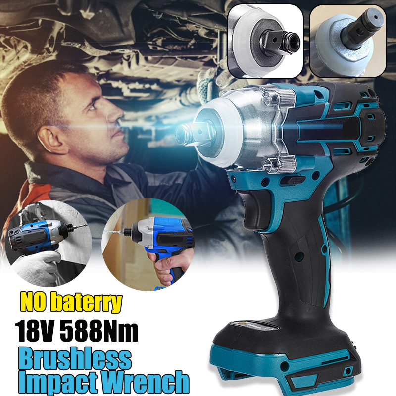 18V 588Nm Electric Brushless Impact Wrench Rechargeable 1/2 Socket Wrench Power Tool Cordless Without Battery Accessories