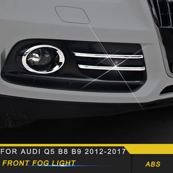 For Audi Q5 B8 B9 2012-2017 Car Styling Front Fog Light Lamp Cover Trim Frame Sticker Chrome Exterior Accessories
