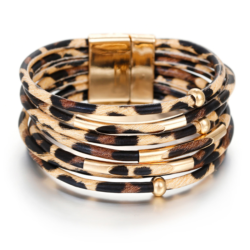 Amorcome Leopard Leather Bracelets For Women 2019 Fashion Bracelets Bangles Elegant Multilayer Wide Wrap Bracelet Jewelry
