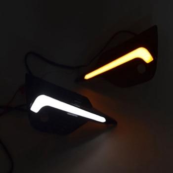 Car LED Daytime Running Light for Nissan Qashqai 2019 2020 Dynamic Turn Yellow Signal Car DRL 12V LED Fog Lamp фото