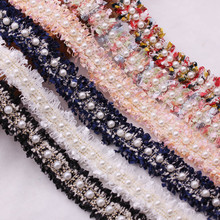 1yards/Lot Vintage Nylon Gold Pearl Beaded Embroidered Lace Ribbon Trim Fabric Handmade Costume Dress Sewing Supplies Craft