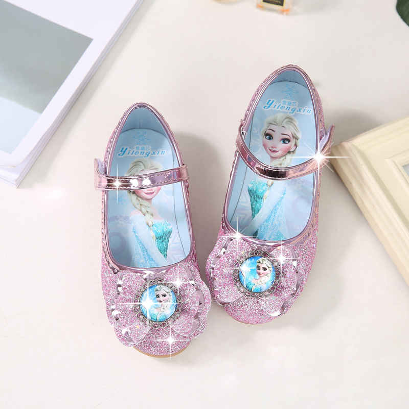 Girls Single Princess Shoes Spring And Autumn New Children's Crystal Shoes Aisha Shoes Autumn  Flat Shoes