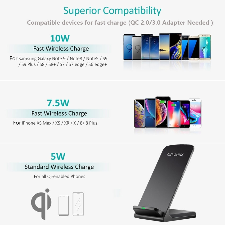 Brucebing Qi Wireless Charger Adapter QC 2.0 Quick Charge Dock Stand For iPhone 8 10 X Samsung S6 S7 S8 Plus Note5 Fast Charging 10