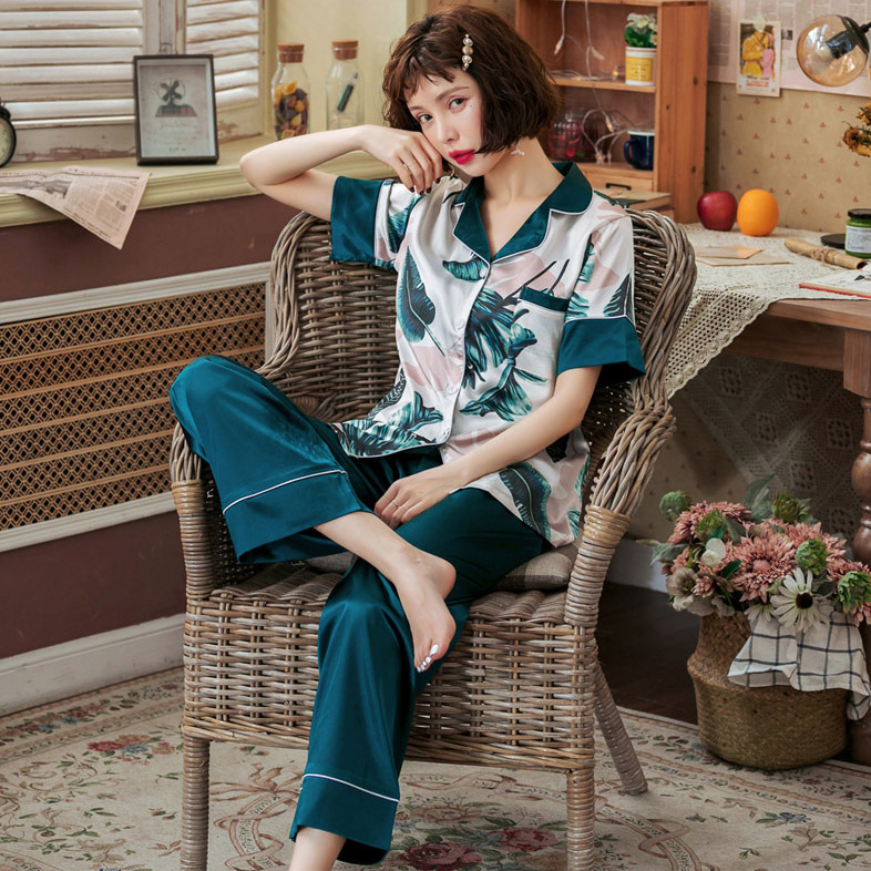 3401 # Photo Shoot New Style Women's Summer Japanese Banana Leaf Short Sleeve Trousers Printed Pajamas Tracksuit