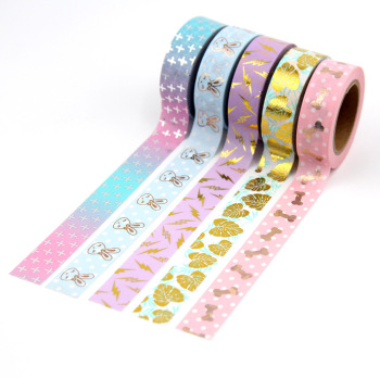 1X Foil Washi Tape 15mm*10m colorful Scrapbooking Tools Cute Adhesiva Decorativa Japanese Stationery Tapes
