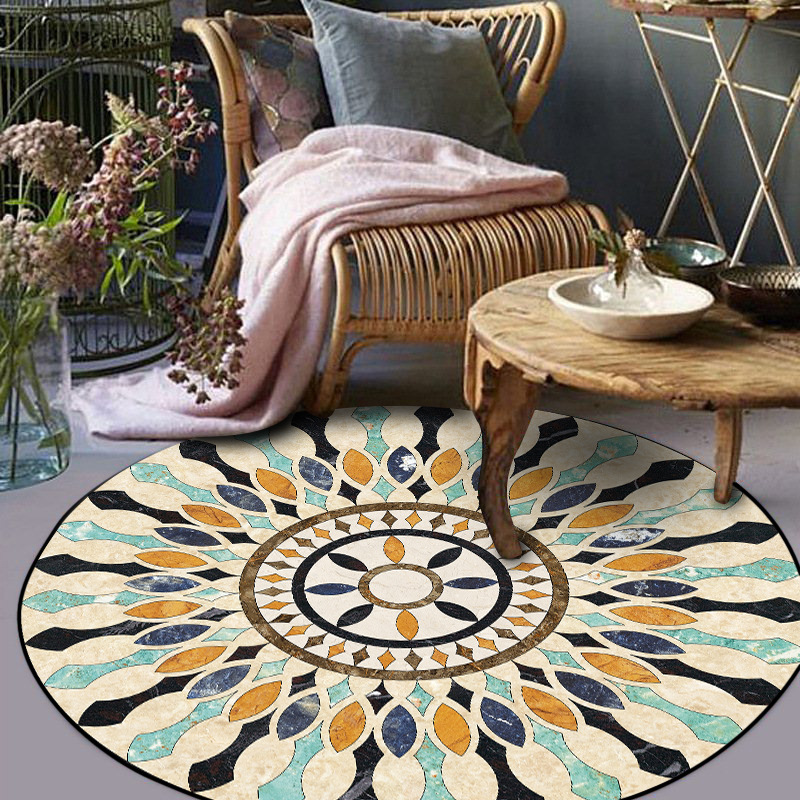 Persian Morocco Style Round Carpets For Living Room Retro Ethnic Bedroom Rugs And Carpets Mandala Floor Mat Study Coffee Table